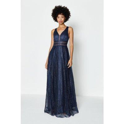 Coast Sparkle Mesh Bodice Maxi Dress -, Navy
