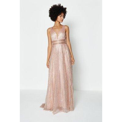 Coast Sparkle Mesh Bodice Maxi Dress -, Pink