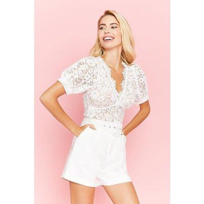 Coast Short Sleeve Lace Button Detail Top, White