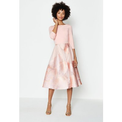 Coast Clipped Jacquard Full Midi Dress, Pink