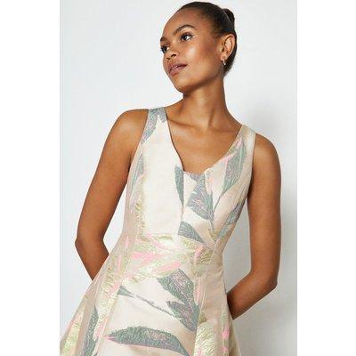 Coast Full Midi High Low Hem Jacquard Dress, Pink