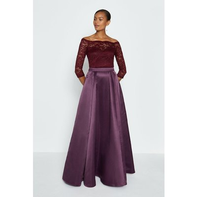 Coast Structured Satin Maxi Skirt -, Aubergine