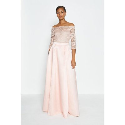 Coast Structured Satin Maxi Skirt -, Pink