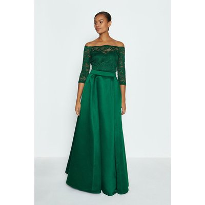 Coast Structured Satin Maxi Skirt, Green