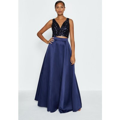 Coast Structured Satin Maxi Skirt -, Navy