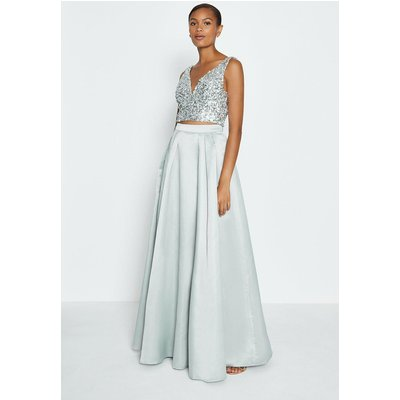 Coast Structured Satin Maxi Skirt -, Silver