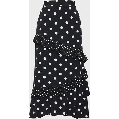 Coast Spotty Ruffle Midi Skirt, Mono