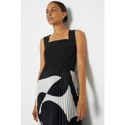 Coast Solid Bodice Printed Pleat Skirt Maxi Dress, Mono