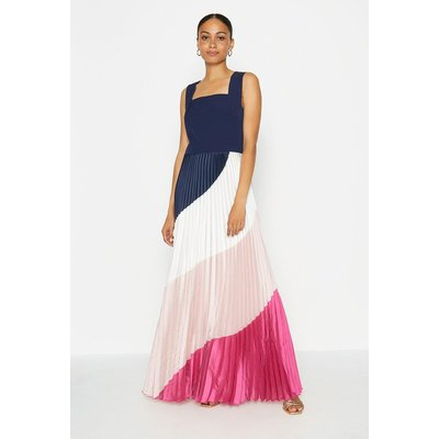 Coast Solid Bodice Printed Pleat Skirt Maxi Dress, Navy