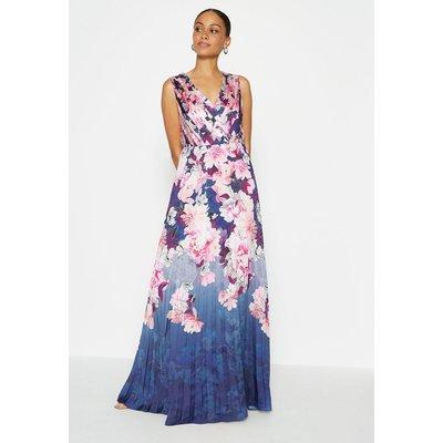 Coast Printed Pleated Maxi Dress, Navy