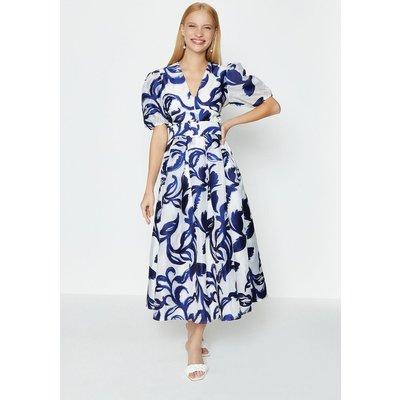 Coast Puff Sleeve Full Midi Dress, Blue