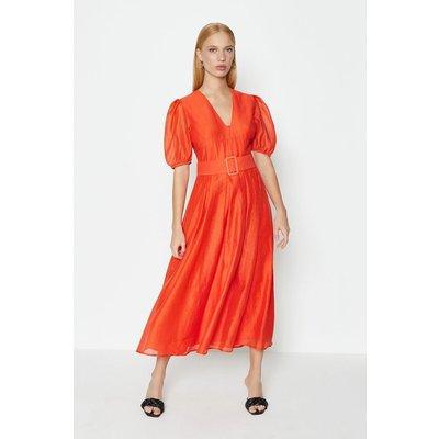 Coast Puff Sleeve Full Midi Dress, Orange