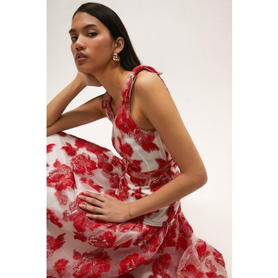 Coast Sleeveless Bow Detail Puff Hem Midi Dress -, Red