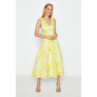 Coast Sleeveless Bow Detail Puff Hem Midi Dress, Yellow