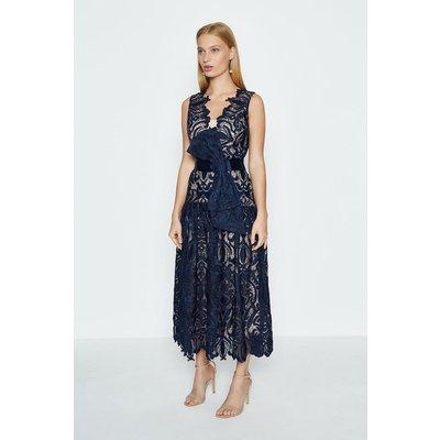 Coast Sleeveless V-Neck Lace Maxi Dress, Navy