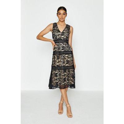Coast Sleeveless Lace Insert Long Dress, Black