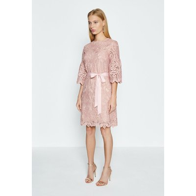 Coast Lace Puff Sleeve Knee Length Dress, Pink