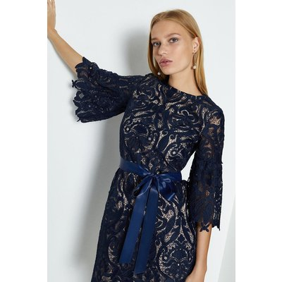 Coast Lace Puff Sleeve Knee Length Dress, Navy