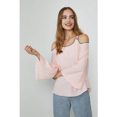 Coast Cold Shoulder Trimmed Long Sleeve Top, Pink