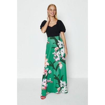 Coast Solid Bodice Printed Skirt Maxi Dress, Green