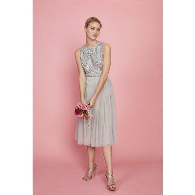 Coast Pleated Mesh Midi Skirt -, Silver