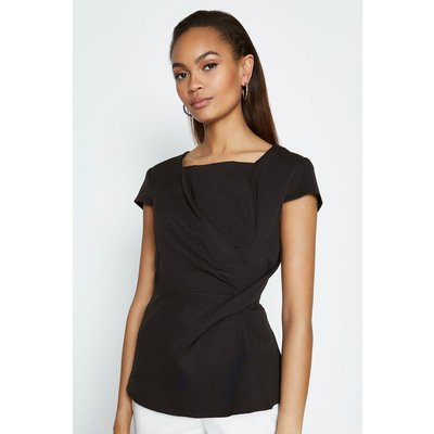 Coast Short Sleeve Tuck Front Shell Top, Black
