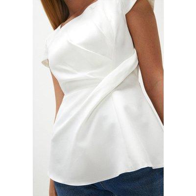 Coast Short Sleeve Tuck Front Shell Top -, Ivory