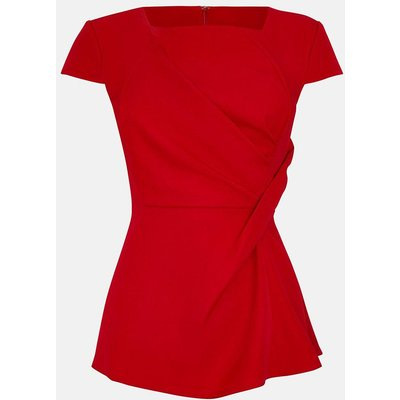 Coast Short Sleeve Tuck Front Shell Top -, Red