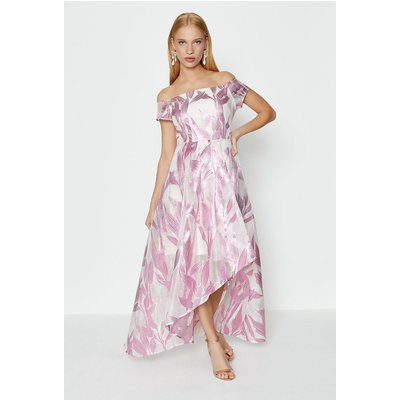 Coast Leaf Jacquard Maxi Dress, Pink