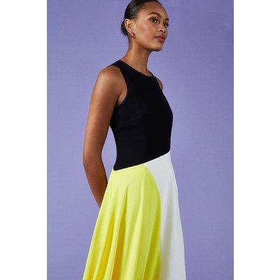 Coast Colour Block Midi Dress, Yellow