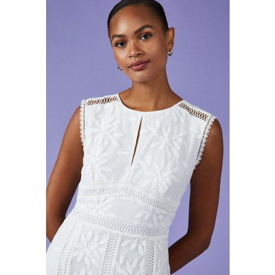 Coast Embroidered Godet Midi Dress, Ivory
