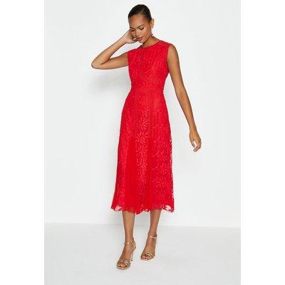 Coast EmbroideGodet Midi Dress, Red