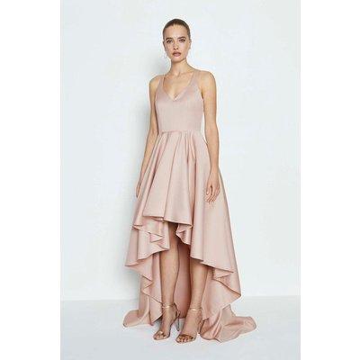 Satin High Low Maxi Dress Pink, Pink