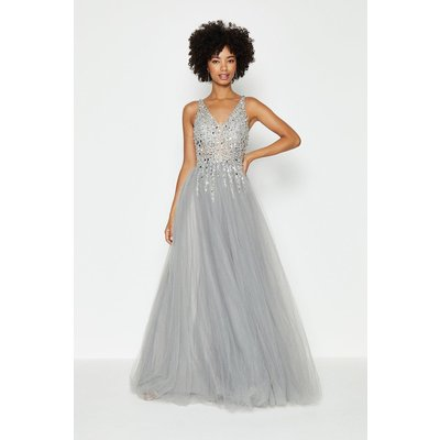 Coast Sequin Bodice Tulle Skirt Maxi Dress -, Silver