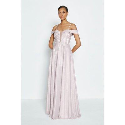 Coast Bardot Beaded Bodice Maxi Dress, Pink