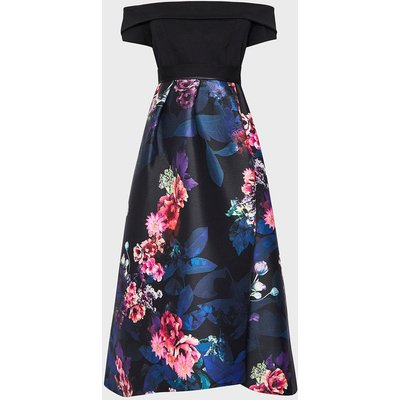 Coast Solid Bodice Bardot Floral Full Midi Dress, Black