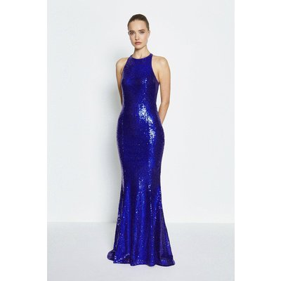 Coast Bow Back Sequin Maxi Dress, Blue