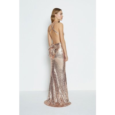 Bow Back Sequin Maxi Dress Champagne, Champagne