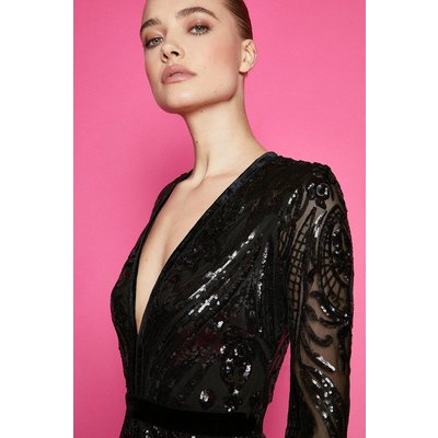 V Neck Long Sleeve Sequin Maxi Dress Black, Black