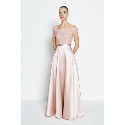 3D Embroidered Bodice Full Maxi Dress Pink, Pink