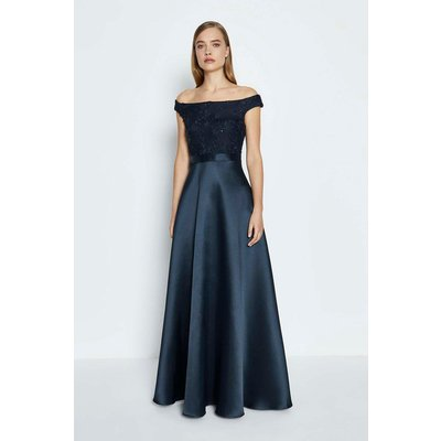 3D Embroidered Bodice Full Maxi Dress Navy, Navy
