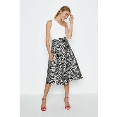 Coast Jacquard Full Midi Skirt, Zebra