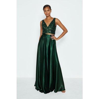 Coast Satin Maxi Skirt, Green