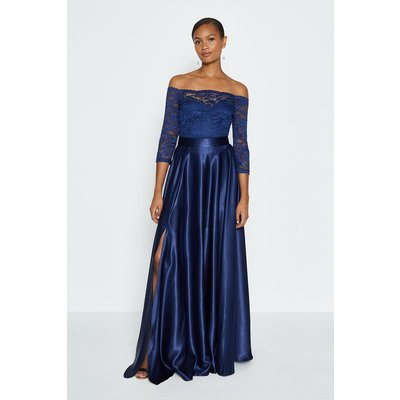 Coast Satin Maxi Skirt -, Navy