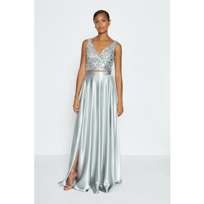 Coast Satin Maxi Skirt -, Silver
