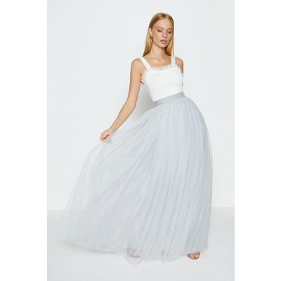 Coast Tulle Maxi Skirt -, Silver
