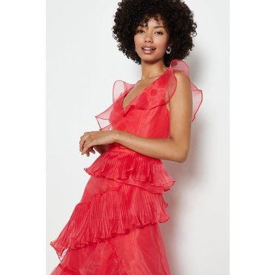 Coast Frill Tiered Organza Dress, Pink