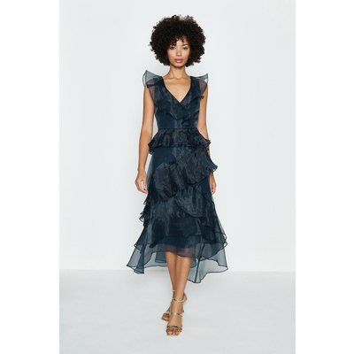 Coast Frill Tiered Organza Dress, Navy