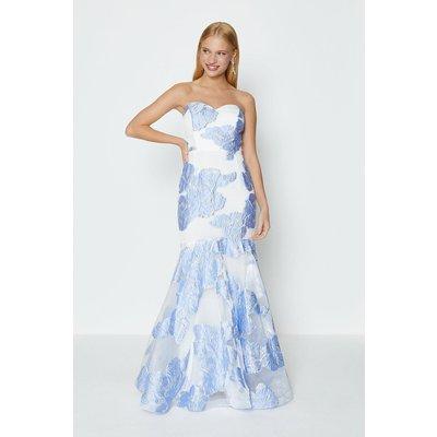 Coast Bandeau Floral Jacquard Maxi Dress, Blue