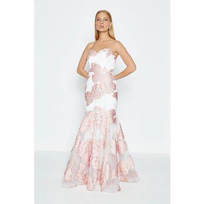 Coast Bandeau Floral Jacquard Maxi Dress, Pink